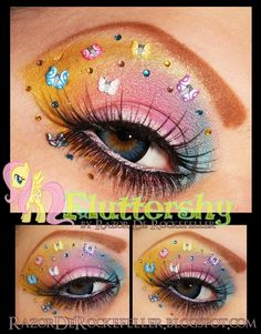 Colorful pastel eye make-up with crystal accents inspired by Fluttershy of My Little Pony fame.