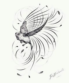 The flourishing off the wingtips of this humble bird shows the powerful impact of a single, small life. This piece emerged from the sorrow felt in the tragic aftermath of the Sandy Hook Elementary sch Pencil Drawing Tutorials, Pencil Drawings, Sparrow Tattoo, Copperplate Calligraphy, Cool Tattoos For Guys, Wood Burning Patterns, Japanese Embroidery, Native American Art, Art Forms