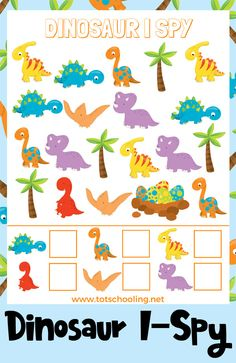 FREE Dinosaur themed I Spy game for toddlers and preschoolers to count and recognize numbers. Little dinosaur lovers will love searching for dinosaurs in this activity! Best Picture For Dinosaur kinde Dinosaur Worksheets, Dinosaur Theme Preschool, Dinosaur Games, Dinosaur Printables, Free Preschool, Preschool Games, Preschool Printables, Preschool Learning, Toddler Preschool