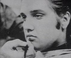 Elvis getting made up for his screen test, 1956.