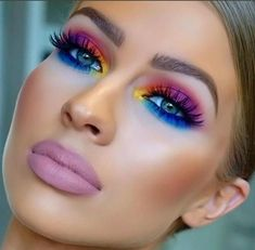 Bright Eyeshadow The eye colors are sooooo The lipstick looks like mortuary makeup! Ugh Bright Eyeshadow The eye colors are sooooo The lipstick looks like mortuary makeup! Glam Makeup, Love Makeup, Makeup Inspo, Eyeshadow Makeup, Makeup Art, Makeup Inspiration, Beauty Makeup, 80s Eye Makeup, Eyeshadows