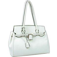 Soft Leather Like Buckle Front Shoulder Bag WHITE ~ Brand New Handbag