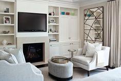 TV/Fireplace combo. Shelves.