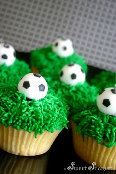 Awesome soccer ball cupcakes for a soccer-themed birthday party. Soccer Cupcakes, Soccer Birthday Cakes, Soccer Cake, Soccer Party, Cute Cupcakes, Cupcake Cookies, Birthday Party Themes, Vanilla Cupcakes, Soccer Theme
