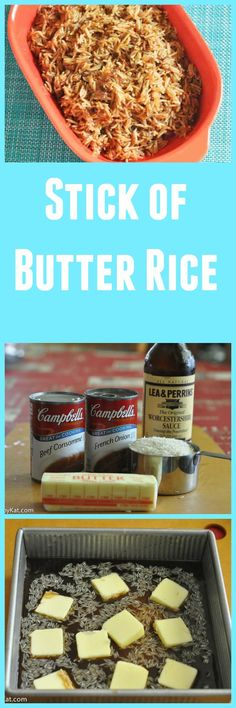 This stick of butter rice, also known as French Onion Soup rice is an amazing side dish for dinner.