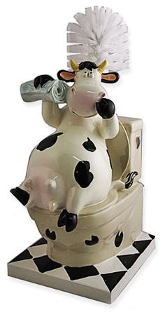 Toilet Brush  Cow-mical !    What can we say udder than we want one in our homes, too !    Cow sitting on the 'throne' holding a newspaper. Udders displayed for anyone brave enough to take a peek, and the cow 'appears' to be, shall we say, cleaning her nostrils with the udder hoof !    Believe it or not this is a very sturdy, porcelain piece with an excellent quality brush... go figure.      NO510 About a foot tall Price 59.95  http://www.cowdepot.com/bathcow.html