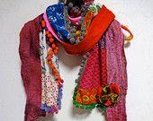 NEW - Bohemian Gypsy Wool Felted Multi Color Scarf