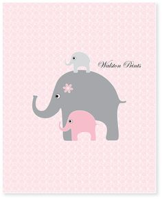 Childrens art - pink and gray nursery art - pink elephant art - print of the month - wall art for girls - baby room decor - kids prints. $8.00, via Etsy.