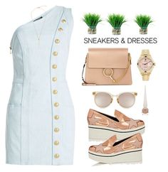 """Sneakers & Dresses"" by prettynposh2 ❤ liked on Polyvore featuring Balmain, STELLA McCARTNEY, Rolex, Quay, Chloé, Christian Louboutin and SNEAKERSANDDRESSES"
