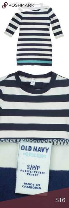 "OLD NAVY Navy & Aqua Stripe T Shirt Dress Excellent condition! This navy blue, white and Aqua stripe T shirt dress from OLD NAVY features a crew neckline and 3/4 length sleeves. Made of a cotton blend. Measures: bust: 34"", total length: 23"", sleeves: 17"" Old Navy Dresses"
