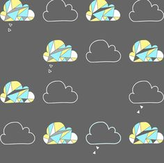 Geometric Rain Clouds fabric by on Spoonflower - custom fabric Cloud Fabric, Classical Elements, Chinese Martial Arts, Rain Clouds, Air Bender, Nursery Design, Surface Design, Custom Fabric, Spoonflower