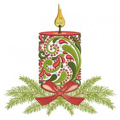 Ornate Christmas Candle Filled Machine Embroidery Design Digitized Pattern hoop - x inches; stitches This machine embroidery design comes in three s Christmas Embroidery Patterns, Crewel Embroidery Kits, Embroidery Materials, Machine Embroidery Projects, Learn Embroidery, Silk Ribbon Embroidery, Embroidery Ideas, Simple Embroidery, Modern Embroidery