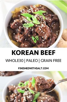 This Korean Beef is the perfect hearty meat dish with lots of fresh ginger and garlic for a healthy and comforting slightly sweet dish without any added sugar! #finishedwithsalt #korean #koreanbeef #beef #dinner #asian #easy #instantpot #easydinner #healthy #foodblog #family #recipe #whole30 #paleo #glutenfreemeal #glutenfree #grainfree #ginger #freshginger #garlic #sugarfree | finishedwithsalt.com