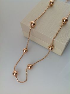 Rose gold necklace,rose gold chain,rose gold collar,rose gold jewelry,rose…