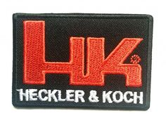 Iron on patches - HK Heckler & Koch Logo - black - 7.5x5.3cm - Application Embroided patch badges