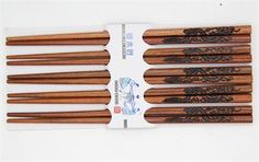 5 Pairs Chopsticks Classic Bamboo Wood Assorted Chinese dragon pattern Gift Set