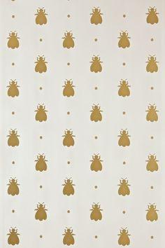 Bumble Bee by Farrow & Ball - Metallic Gold / Cream - Wallpaper : Wallpaper Direct Cream Wallpaper, Luxury Wallpaper, Home Wallpaper, Fabric Wallpaper, Pattern Wallpaper, Remove Wallpaper, Beautiful Wallpaper, Wallpaper Decor, Bathroom Wallpaper