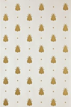 How cute is this wallpaper? Would kove to use this somewhere down the road!  Farrow & Ball - Bumble Bee BP 507