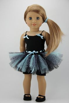 "American Girl doll clothes - 3 piece tutu outfit (fits 18"" doll) (448blu)"