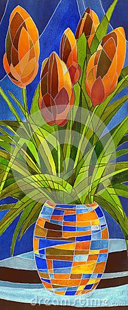 Abstract flowers in a vase stock illustration. Illustration of artificial - 41513302 Mosaic Flowers, Abstract Flowers, Flower Vases, Flower Art, Abstract Art, Mosaic Projects, Happy Art, Ceramic Art, Painting Inspiration