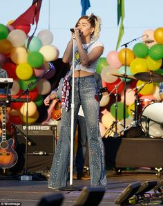Colorful:Miley Cyrus wore the rainbow with pride when she performed at the 2017 Capital P...