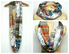 Flannel Patchwork Infinity Scarf Shabby Chic by PrimitiveFringe