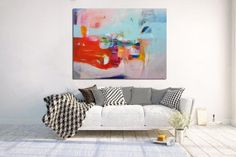 Orange and light blue large abstract painting large wall art
