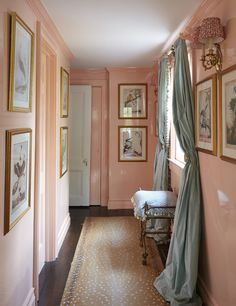 New York Homes, New Homes, Pink Hallway, Interior And Exterior, Interior Design, Interior Architecture, Silk Curtains, Traditional Interior, Pink Room