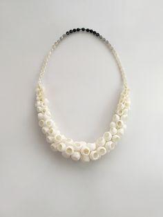 Naama Bergman, Necklace, 2013  Intestine, epoxy, oxidized silver.