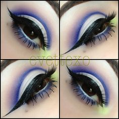 """""""ElectricPurple!"""" - white eyeshadow base with a warm brown above crease area. an electric purple crease area. with a light lime green in eye duct area. white underliner with same electric purple undershadow. and a thin long winged out eyeliner."""