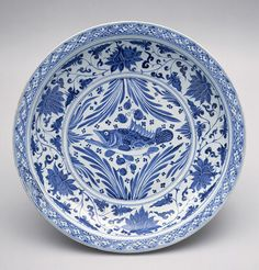 Plate, Yuan dynasty (1271–1368), mid-14th century China Porcelain with underglaze blue decoration