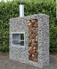A pleasant garden design. Outdoor Fire, Outdoor Living, Outdoor Decor, Gabion Wall, Diy House Projects, Wood Projects, Fire Pit Backyard, Pergola Designs, House In The Woods