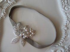 Pearl Beaded Applique Headband: Leaf Applique and Pearl Headband on Gray Elastic Headband