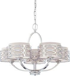 Nuvo Lighting 60/4625 Harlow Five Light Chandelier with Slate Gray Fabric Shades Polished Nickel Indoor Lighting Chandeliers