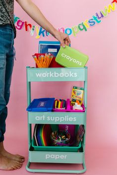 E-Learning Organization: 5 Cute and Productive Homeschool Space Ideas // Get Organized - The Pretty Life Girls | Whether you are a homeschool teacher by choice or by default during this back-to-school season, it can be stressful to think about the elements that go into creating a classroom at home. If you're looking for an idea or two for learning at home, we've got a few homeschool space ideas to share!