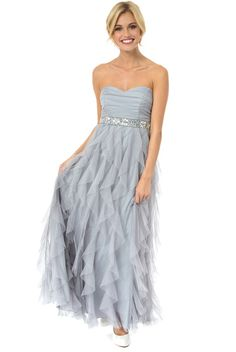 Front view of Teeze Me Strapless Glitter High-Low Petal Dress ...