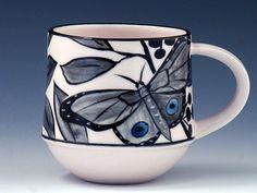 Painted Butterfly Mugs - Half Rounds Pottery Teapots, Pottery Mugs, Ceramic Pottery, Pottery Ideas, Ceramic Mugs, Ceramic Art, Porcelain Clay, Painted Porcelain, Diy Mugs