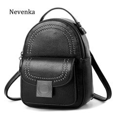 ae488f9e1836 NEVENKA Women Retro Backpack School Backpack For Girls Female Casual Style  Rivet Small Shoulder Bag Fashion Leather Back Pack