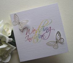 Rainbow butterfly wedding invitation rjweddingstationery.co.uk