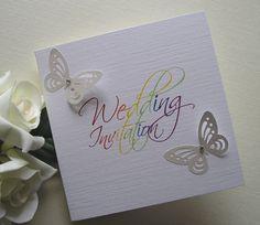 Rainbow butterfly wedding invitation rjweddingstationery.co.uk