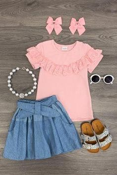 Blush & Denim Skirt Set - Sparkle In Pink Cute Baby Girl Outfits, Cute Outfits For Kids, Toddler Girl Outfits, Cute Baby Clothes, Little Girl Dresses, Baby Girl Fashion, Kids Fashion, Baby Dress Design, Girl Dress Patterns