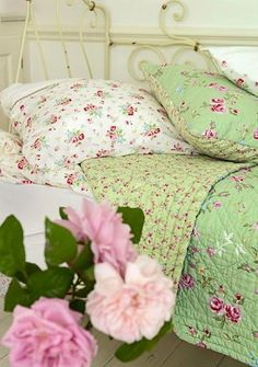 shabby chic bedding soft green and pinks