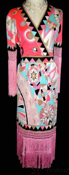 Emilio Pucci vintage fringe pink dress