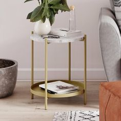 Find Britni End Table Storage Wrought Studio online. Shop the latest collection of Britni End Table Storage Wrought Studio from the popular stores - all in one Small Round Side Table, Round Coffee Table, Side Tables, End Tables With Storage, Table Storage, Storage Ideas, Marble End Tables, Gold End Table, Solid Wood Tv Stand