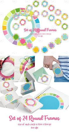Cheerful circle frame clipart set is perfect for labels and many more rounded printables. Each clipart has colorful border frames in spring summer colors. These labels clipart will be great for Easter crafts and parties. Because of large 6 inch size these clip art are also great for many