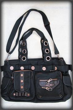 11acc1243e Black Shoulder Steampunk Bag with Copper Key by Banned