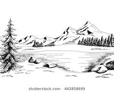 mountain lake landscape sketch drawing shutterstock easy drawings river mountains pencil graphic forest outline scene realistic snowy drawn vectors winter