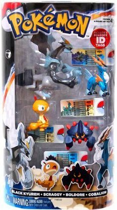 Pokemon TOMY Basic Figure 4-Pack Black Kyurem, Scraggy, Boldore & Cobalion by Tomy. $21.99. The Pokemon 4 Figure Gift Pack is the perfect pack for new and existing Pokemon fans. Train and battle many different combinations with this four-figure pack. Each pack contains one, 4 inch legendary PVC figure and three, 2 inches PVC figures with accurate coloration and fine detail. Track the height, weight, and type of your Pok mon character with four included Pokedex ID Tags.