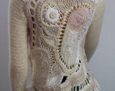 Unique Crochet Sweater Bohemian  Freeform Crochet Nuno Felted Sweater Top Tunic - Ivory White Cappuccino - Wearable Art-Size S-M/Fall Winter