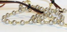 Taupe Brown Glass Pearl Beaded Lanyard Eyeglass Chain by nonie615, $14.00